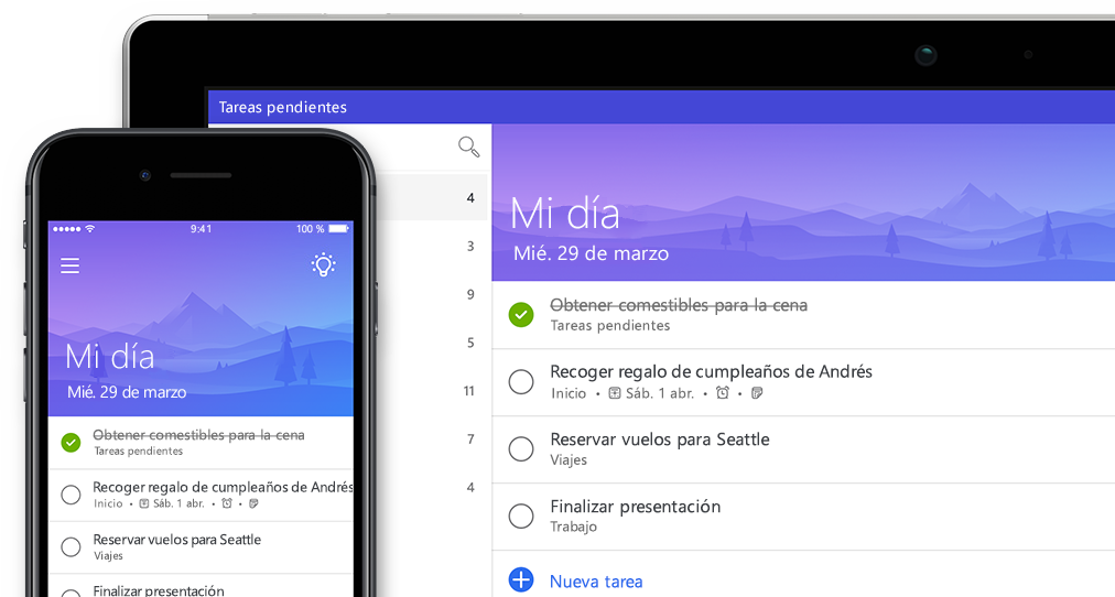Se muestra la misma lista de To-Do en un smartphone y tablet PC
