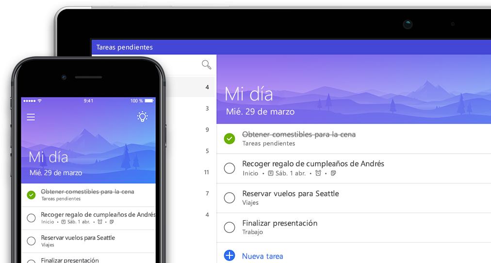 Un smartphone y una tableta en los que se muestra la misma lista de tareas pendientes en To-Do