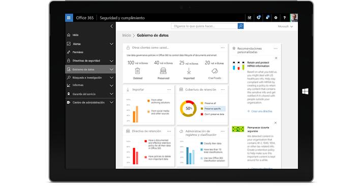 Una tableta en la que se muestran las características de Gobierno de datos en Office 365