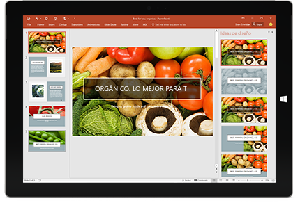 Una tableta que muestra la función Diseñador en una diapositiva de una presentación de PowerPoint.