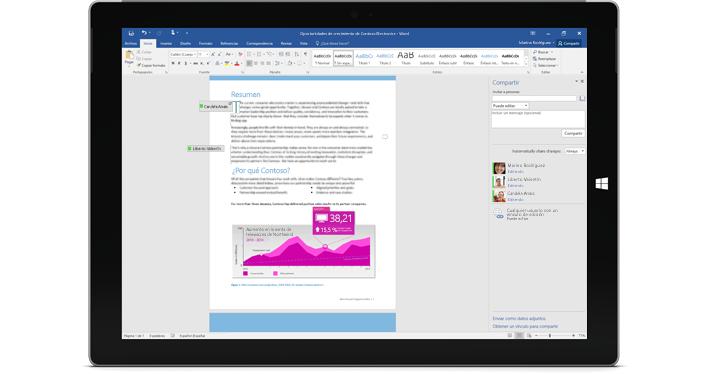 Surface Pro 3 donde se muestra la característica de co-autoría en Word