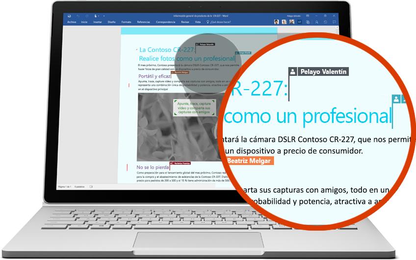 Equipo portátil que muestra un documento de Word con una sección ampliada donde varios usuarios realizan ediciones, reproduce el vídeo en la página sobre cómo colaborar con Office 365.