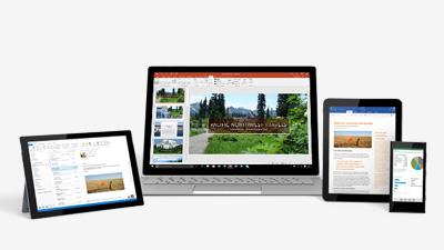 PowerPoint en una tableta Surface, un portátil con Windows, un iPad y un teléfono Windows