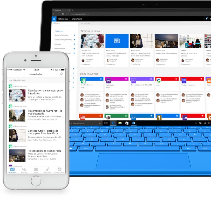 Un smartphone y un equipo portátil en el que se muestran noticias de sitios de intranet en SharePoint