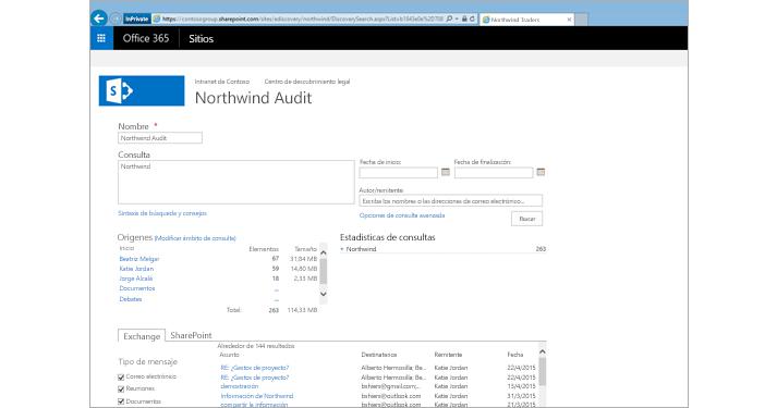 Primer plano de una lista de resultados de vista previa de Archivado de Exchange Online.
