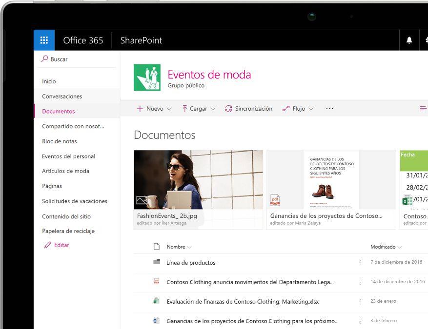 Una biblioteca de documentos de SharePoint con filtros