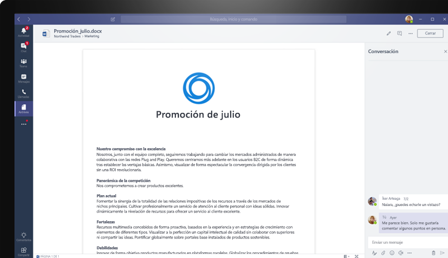 Un documento de Word en Teams con varios usuarios que le agregan comentarios