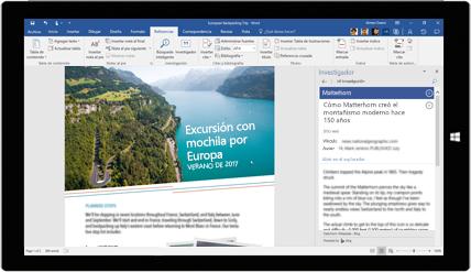 Pantalla de la tableta que muestra el Investigador de Word en uso en un documento sobre excursiones de mochileros por Europa, descubre más información sobre la creación de documentos con las herramientas integradas de Office