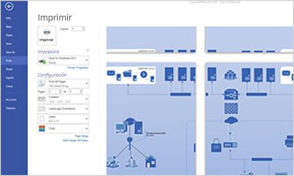 Captura de pantalla de la página de impresión en Visio Standard 2013, donde se puede obtener una vista previa de los diagramas.