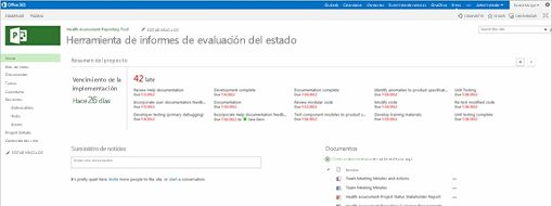 Pantalla de Microsoft Project