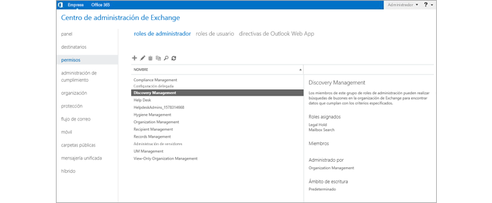 Página de permisos del Centro de administración de Exchange desde donde se gestionan los roles de administración