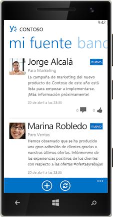 Un Windows Phone que muestra la fuente en Yammer