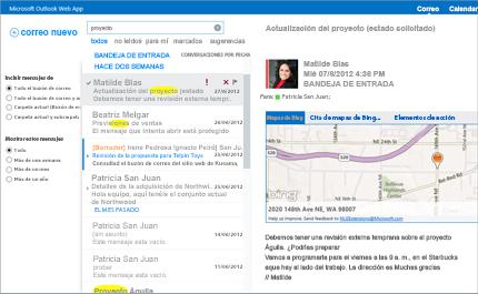 Imagen ampliada de la bandeja de entrada de un usuario en Outlook Web App con tecnología Exchange.