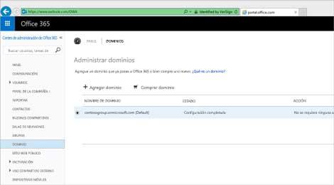 Detalle de la página del centro de administración de Office365 en donde se administra ExchangeOnlineProtection.