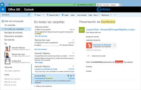 Imagen ampliada de la bandeja de entrada de un usuario en Outlook Web App.