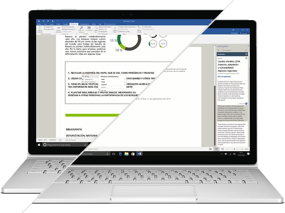 Captura de pantalla del Investigador y el Editor en Microsoft Word
