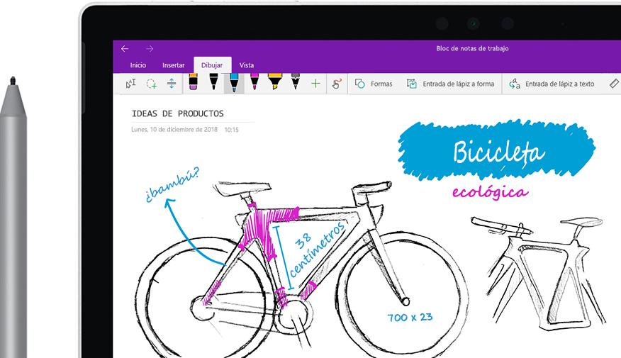 """Lápiz digital con el que se está esbozando la imagen de una bicicleta denominada """"Ecobici"""" en una tableta."""
