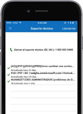 Imagen de teléfono que muestra la pantalla de soporte técnico.