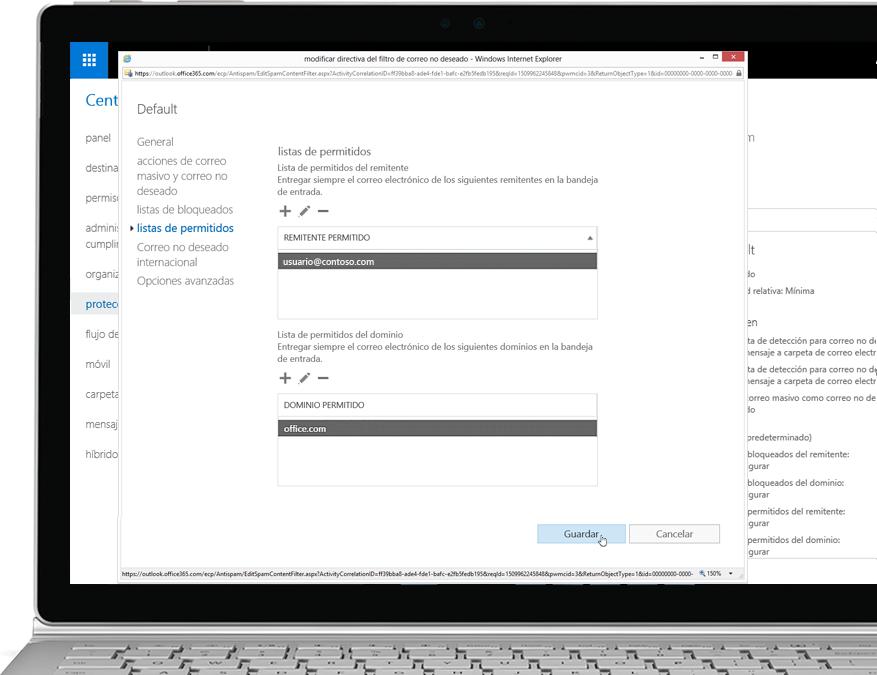 Directiva de filtro de Office 365 Exchange Online Protection en un portátil con Windows