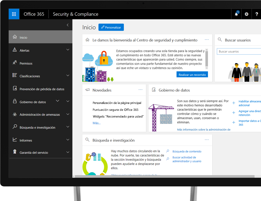 Centro de seguridad y cumplimiento de Office 365 en el monitor de un PC con Windows