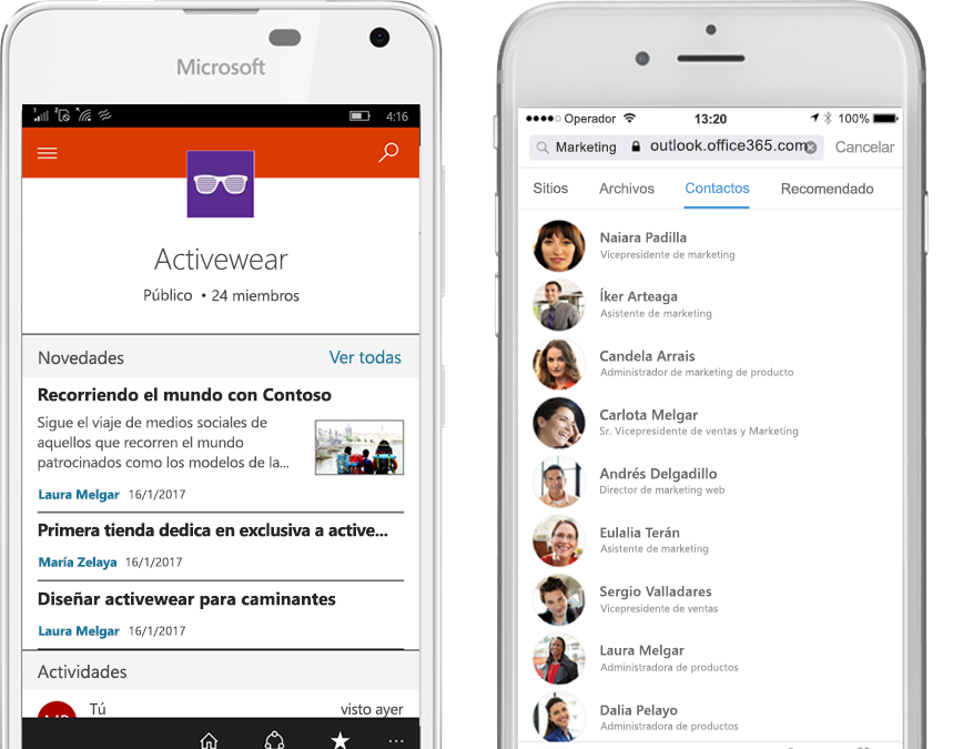 Dos smartphones en los que se ejecuta la aplicación móvil de SharePoint
