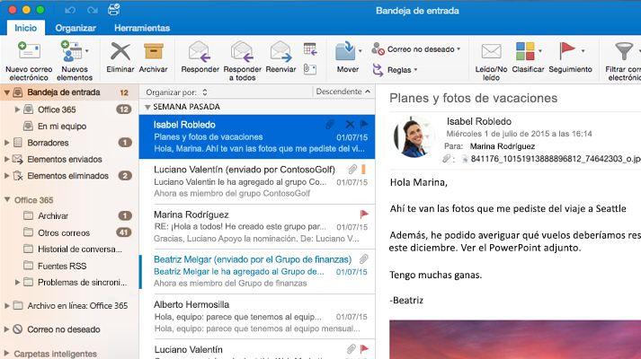 Captura de pantalla de una bandeja de entrada de Microsoft Outlook 2016 con una lista de mensajes y una vista previa.