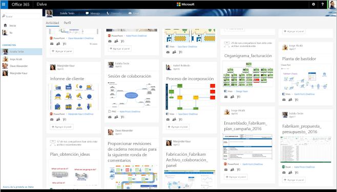 Captura de pantalla de una galería de diagramas de Visio de Delve en Office 365.