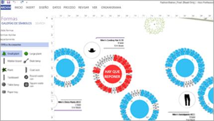 Un diagrama de Visio que muestra las formas vinculadas a datos dinámicos.