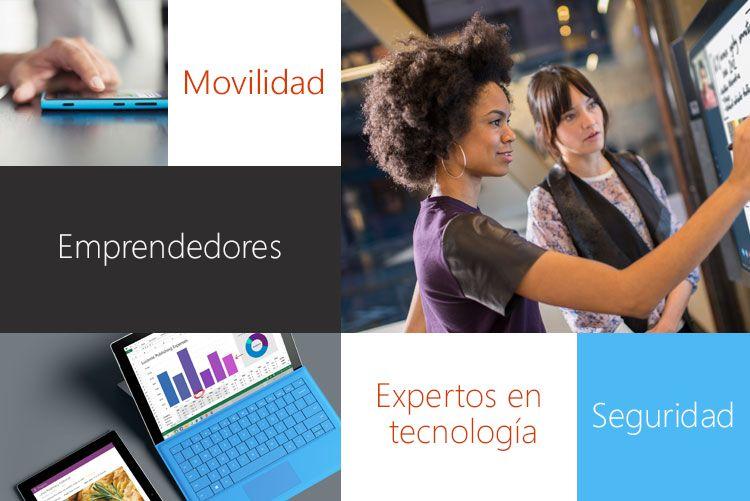 Imágenes de un smartphone, un dispositivo Tablet PC y 2 personas que trabajan en un problema de tecnología. Modern Workplace aborda problemas como la movilidad y la seguridad con empresarios, técnicos y otros expertos.