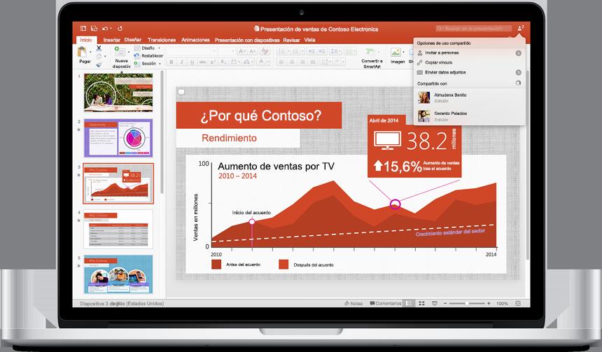 Un MacBook que muestra una nueva presentación de PowerPoint para Mac con el menú Opciones de uso compartido.