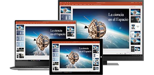 El monitor de un equipo de escritorio, un portátil y una tableta con una presentación sobre ciencia en el espacio, aprende sobre productividad móvil con las aplicaciones de Office móviles y de escritorio