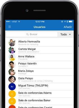 Imagen de teléfono que muestra la pantalla de usuarios.