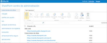 Captura de pantalla del centro de administración de SharePoint, donde puede administrar fácilmente sitios y usuarios.