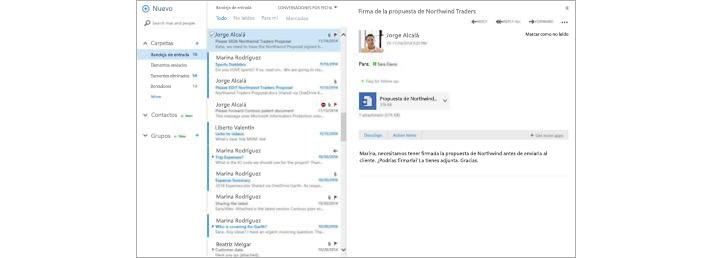 Bandeja de entrada de correo electrónico de un dispositivo móvil con un mensaje nuevo que se muestra en el panel de vista previa