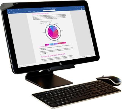 Un monitor de PC muestra las opciones de uso compartido en Microsoft Word.