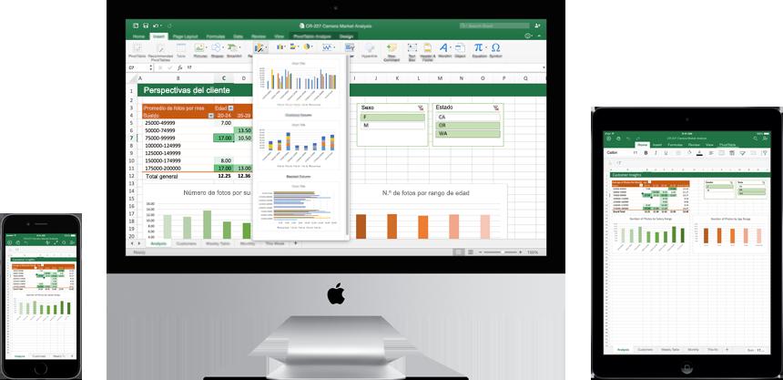 Un iPhone, un monitor de Mac y un iPad mostrando el nuevo Excel para Mac en uso.