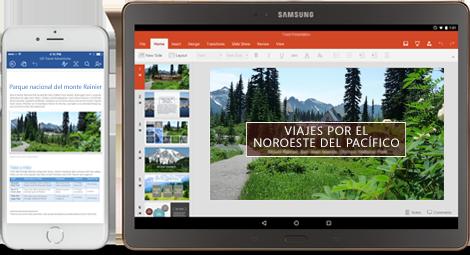 Office se mueve contigo: teléfono que muestra un documento de Word en edición y una tableta donde se editan diapositivas de PowerPoint.