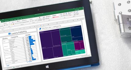 Tableta que muestra Office 365 Business Intelligence en uso.