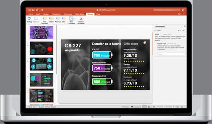 Portátil donde se muestran diapositivas de una presentación de PowerPoint en la que colabora un equipo.