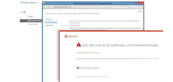 Captura de pantalla de una ventana de directiva de vínculos seguros y de un aviso de Vínculos seguros a los usuarios.