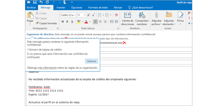 Correo electrónico con una sugerencia de directiva para ayudar a prevenir el envío de información confidencial.
