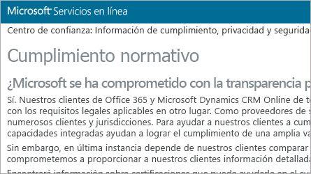 Página de Microsoft Online Services en la que se muestra información sobre el cumplimiento normativo, lee las preguntas más frecuentes sobre el cumplimiento normativo