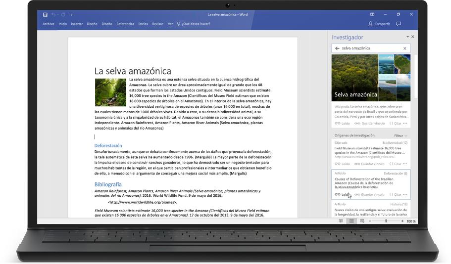 Portátil en el que se muestra un documento de Word y el Investigador