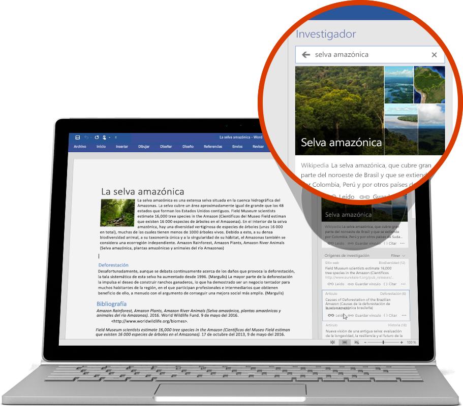 Portátil donde se usa Investigador en un documento de Word; obtener más información sobre las características de Word