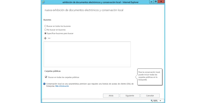Ventana de Internet Explorer en la que se muestra la característica de suspensión y eDiscovery local