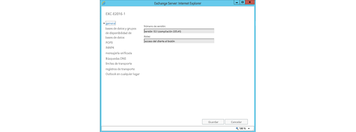 Ventana de configuración general de Exchange Server en Internet Explorer