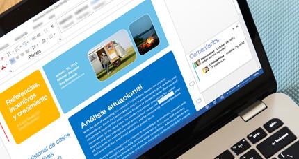 Primer plano de un documento compartido de Office 365 en una pantalla de portátil.