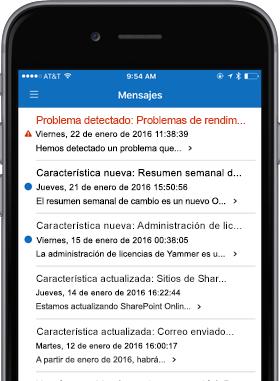 Imagen de teléfono que muestra la pantalla de mensajes.