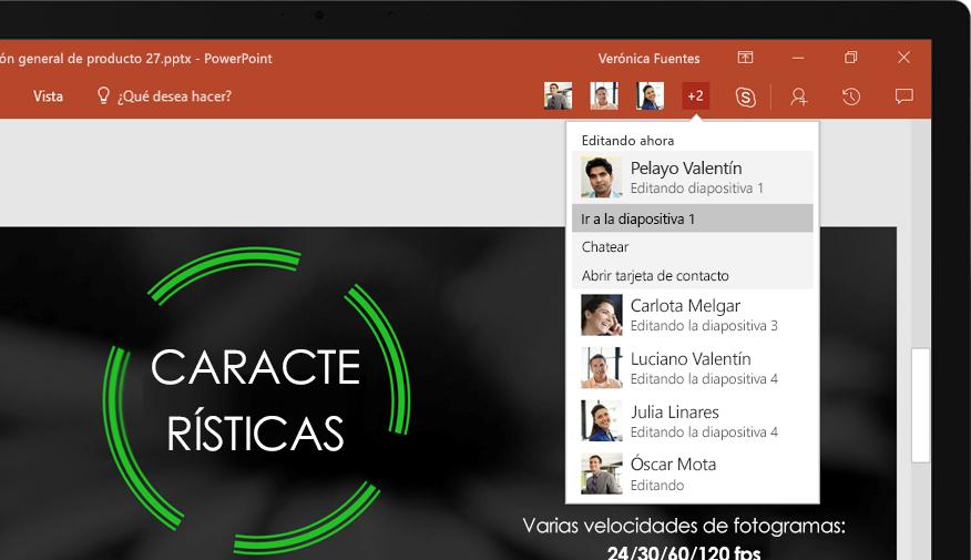 Un portátil donde se muestran las diapositivas de una presentación de PowerPoint en la que colaboró un equipo.