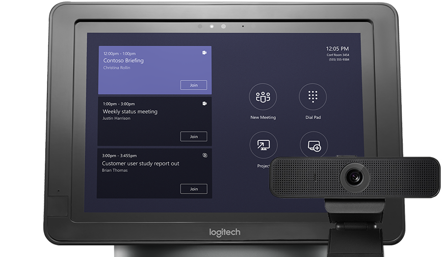 Dispositivo en el que se muestra una programación de reuniones junto a un periférico de audio y vídeo